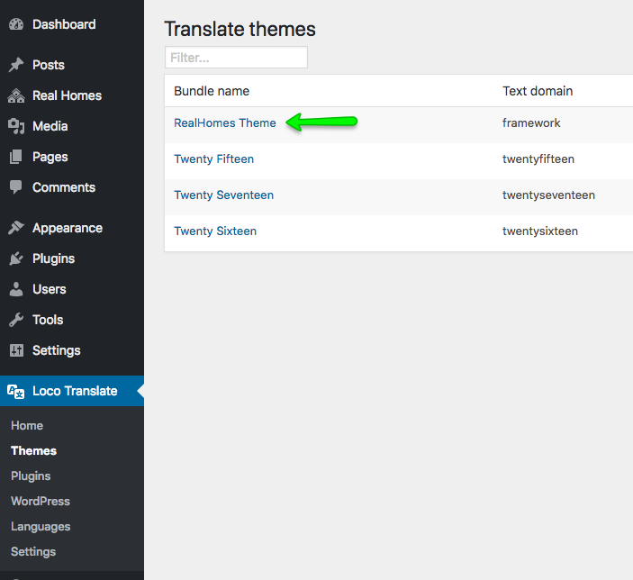 Selecting Theme Loco Translate