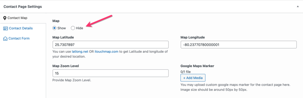 Hide for Map in Contact Page Settings